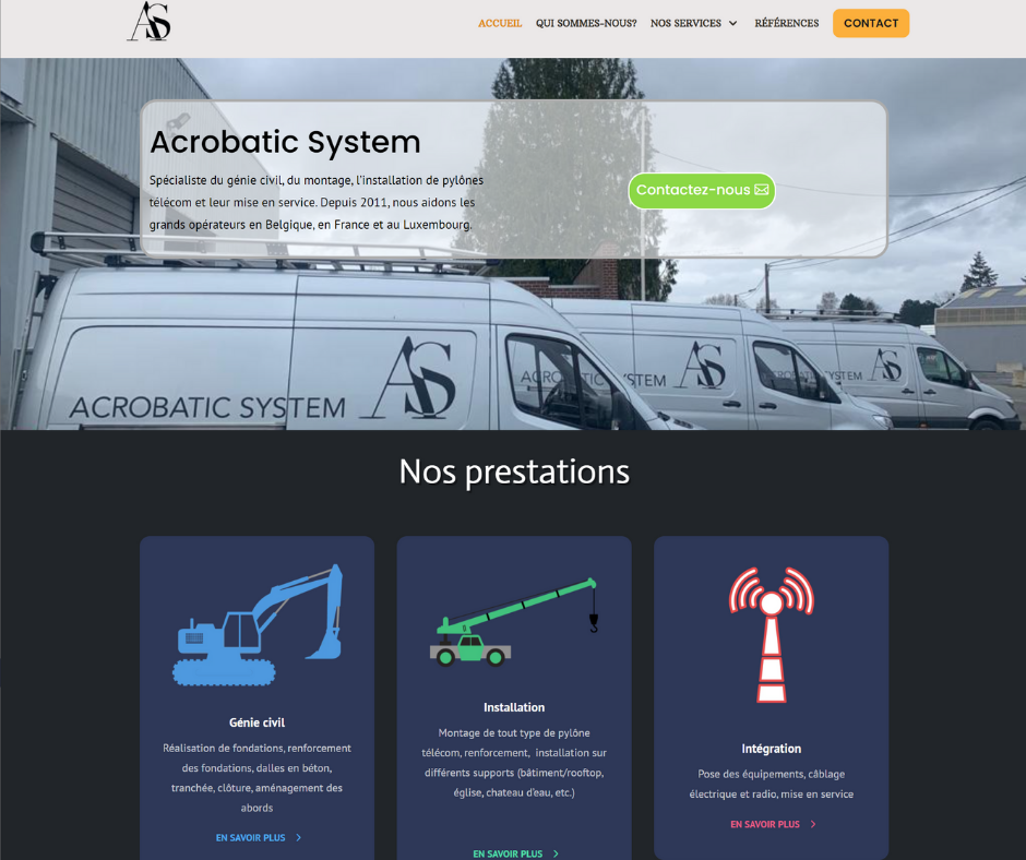 site vitrine acrobatic system